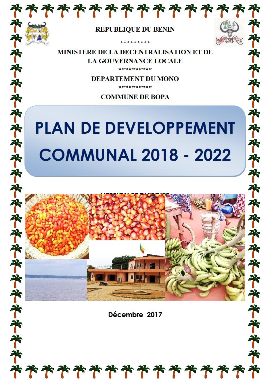 Plan de Développement Communal (PDC3) de Bopa